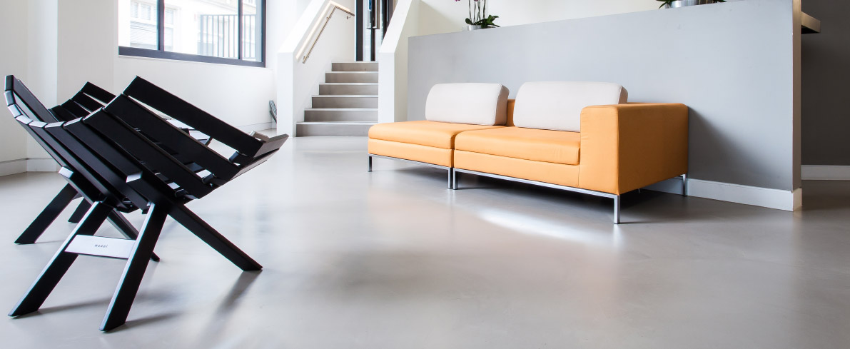 Concrete style flooring at Sony