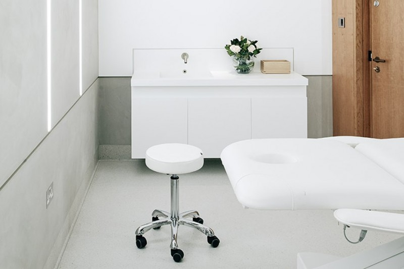 Sphere8 terrazzo resin flooring at Harrods Wellness Clinic