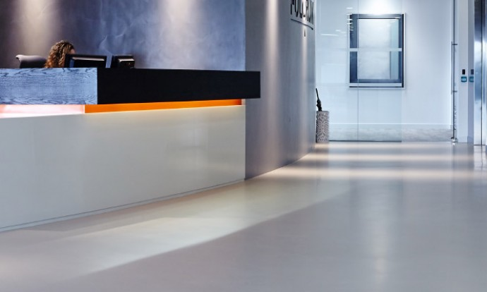 Resin floors and walls in London office