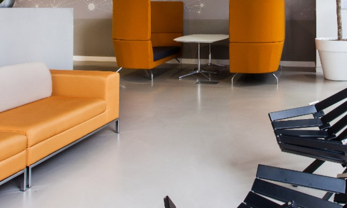 Poured resin office floors
